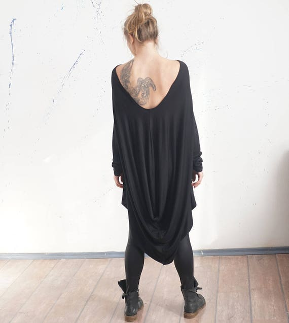 Loose Black Party Tunic, Oversized Asymmetrical Top, Open Back Drapped Top Tunic, Clubwear, Flattering Maxi Top
