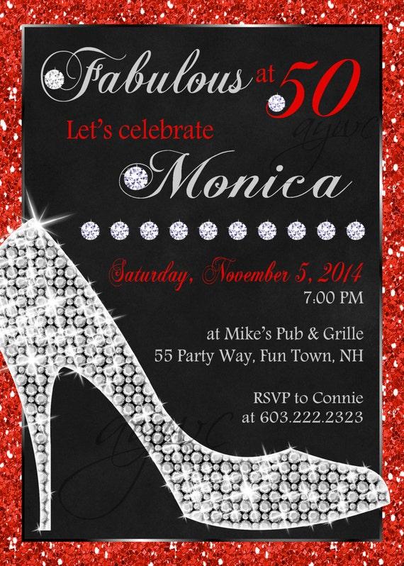 40th Birthday Party Invitation Woman High Heels Invitation