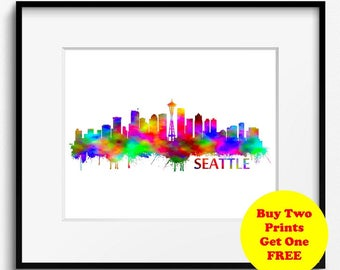 Seattle Skyline Watercolor Art Print (291) Cityscape Washington USA