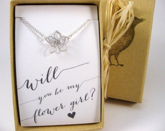 Flower Girl Gift, Flower Girl Necklace, Wire Flower Necklace, Will you be my Flower Girl? Flower Girl Proposal