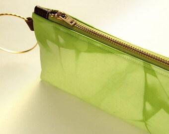 100% Organic Cotton Shibori Clutch - Charteuse Shibori Wristlet Clutch