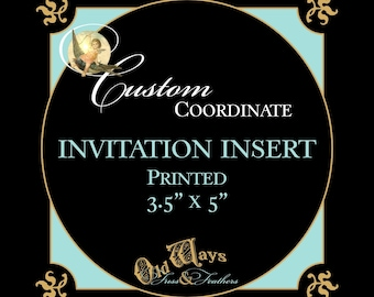 "Printed Invitation Insert - Made to Coordinate with Invitation - 3.5"" x 5"" Insert - Registry, Information, Baby Shower Book Request"