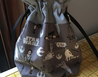 Star Wars. Rey-themed medium fully-lined cotton drawstring knitting project bag or dice bag