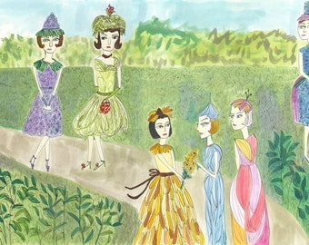 Garden Club.   Limited edition print of an original painting by Vivienne Strauss.