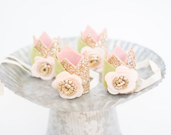 Mini Sparkle Crown // Flower Crown // Smash Cake Photo prop // Gold and Blush
