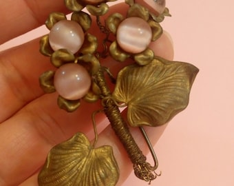 Vintage Antique Art Nouveau pink glass flower brooch floral leaves handmade 1910's