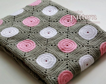 Crochet Pattern - Polka Dot Blanket (Pattern No. 061) - Pattern With Detailed Step-By-Step Photo Tutorial - INSTANT DIGITAL DOWNLOAD