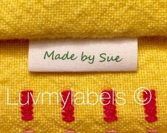70 frayless, precut Custom colorfast cotton loop fold sewing label/tag