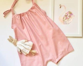 Girls dusty pink boho short romper / jumpsuit, playsuit.