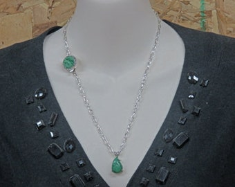 Emerald Necklace - One of a Kind Pear-Shaped Natural Emerald and Sterling Silver Necklace - May Birthstone Necklace