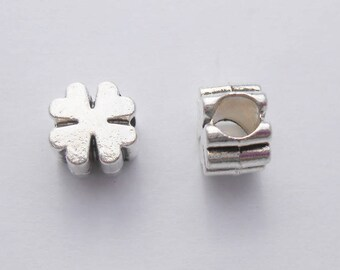 Pearls Charms European clover 10 x 9 mm Antique silver plated