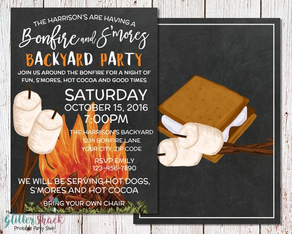 S'mores & Bonfire Backyard Party Invitation