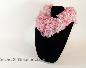 Knit Ruffle Scarf, Pink and White Woman's Ruffle Scarf, Pink Blend Sashay Ruffle Scarf, Bell Ruffle Scarf, Pink Knit Ruffle Scarf