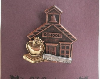 School Pin - School themed pin - Apple with Book, School, Ruler- Great gift for teacher, bus driver, student or education worker