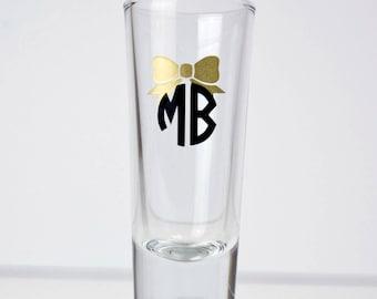 Bow Monogrammed Shotglass - Monogram - Glasses - Shotglass Set - Glassware - Custom Glassware - Custom Shotglasses