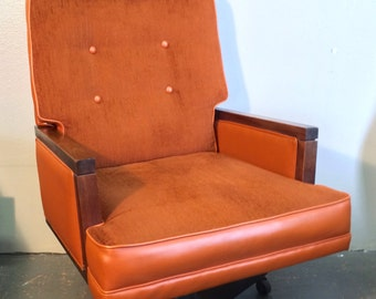 15% SOLSTICE SALE  LARGE High Back Orange Velour Mid Century Modern Executive Office Chair Edward Wormley