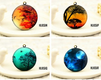 1pcs beautiful dusk & Night Locket Necklace , Antique Bronze Brass Forest Charm Pendant 32mm 25mm 20mm Locket