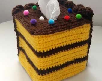 Cube Kleenex Tissue Box Cover, Baked With Love, Handmade Crochet, New Apartment Gift, Teen Gifts, Room Decorations, Tasty Rainbow Sprinkles