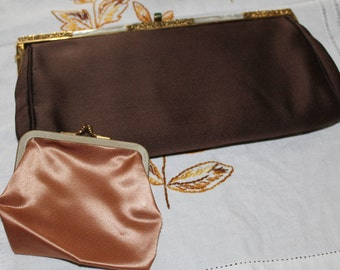 Chocolate silk satin clutch, vintage 1950's, mother of pearl inlay