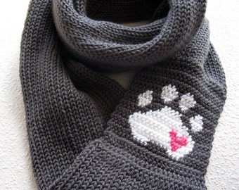 Paw Print Knit Infinity Scarf. Charcoal gray knitted circle scarf with a small pink heart. Long knit cowl scarves. Pet lover gift
