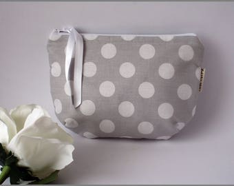 Makeup Bag, Cotton Fabric Pouch, Toiletry Bag, Cosmetic Bag, Polka Dots Round Bag, Dots Storage Bag, Zipper Cosmetic Bag, Organizers Handbag