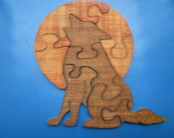 Howling Wolf wood puzzle.  Child's puzzle or decoration.