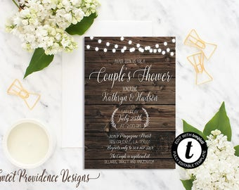 Couples Shower Invitation / Printable Couples Shower Invite/ Rustic Couples Shower Invitation / EDITABLE Invitation/ Instant Download