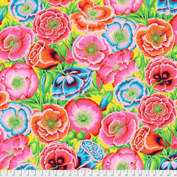 POPPY GARDEN Red Philip Jacobs PWPJ095.REDXX Kaffe Fassett Collective Sold in 1/2 yd increments Pre-Order Item