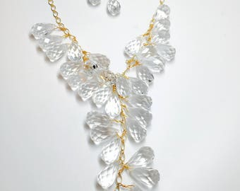 Crystal Cluster Necklace & Earrings