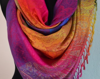 Ombre Rainbow Scarf Shawl Pashmina, Scarves for Women