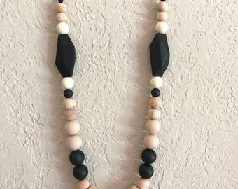 Silicone Teething Necklace, Nursing Necklace, Chew Beads, tan black wooden