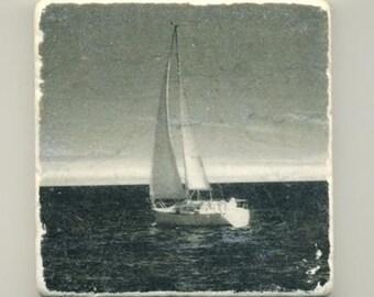 Sailing on Lake Michigan -Infrared Original Coaster