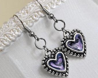Silver Heart Earrings, Resin Jewelry, Light Purple, Love Jewelry, Valentines Day, Gift for Girlfriend, Lavender