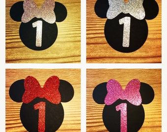 Minnie Mouse Glitter Cut Outs with Bows & Birthday Number -AGE 1  (Limited Quantities)