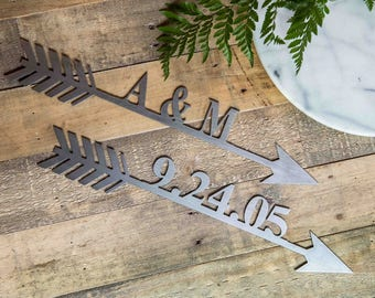 "16"" Custom Personalized Metal Arrow w/ Name or Date"