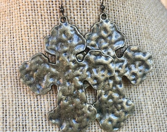 Large hammered bronze cross earrings