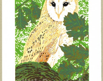 Barn Owl, Barn Owl print -  Barn Owl Art - Limited Edition Linocut Reduction Print