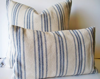 Grain Sack Pillow Cover, Blue Farmhouse Pillow Blue Cottage Pillow French Grain Sack 0