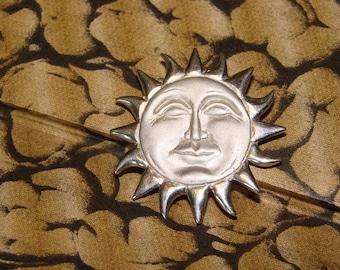 Sunny Days Sterling Silver Sun Brooch