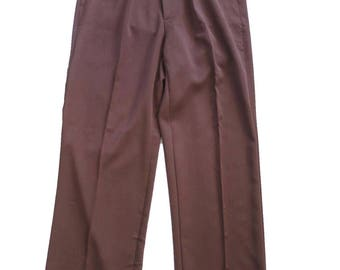 1940s Vintage Style Brown Fishtail LookTrousers With Turn Up Hems
