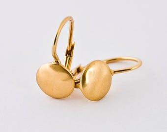 Simple Gold Earrings, Dangle Earrings, 18k Solid Gold Earrings, Minimal Gold Earrings, Gold Nugget Earring, Dangle Post Earrings for Her