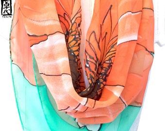 Silk Scarf Square, Hand Painted Silk Scarf, Orange Scarf, Square Silk Scarf, Takuyo, Orange and Mint Scarf, Garbera Daisy, 34x34 inch,