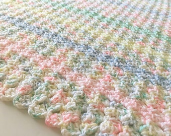 Pastels Baby Blanket, Crochet Baby Blanket, Baby Blanket, Striped Blanket, Crochet Blanket, Baby Afghan, Handmade Blanket, Baby Shower Gift