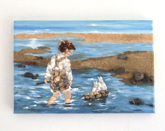 Acrylic Painting, Beach Artwork with Seashells and Sand, Young Boy with his Boat in Seashell Mosaic, Mosaic Art, 3D Art Collage, Home Decor