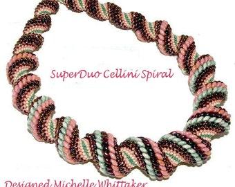 SuperDuo Cellini Spiral Neckalce Needlework Tutorial PDF