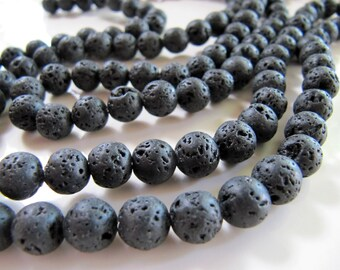 8mm Natural LAVA Rock Stone Beads in Matte Black, Round Gemstones, 1 Strand 15 Inches, Approx 45 Beads