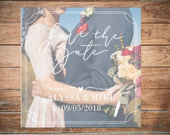 Rustic save the date template with photo Custom save-the-date card Printable wedding save the date Photo invitation editable card DIGITAL