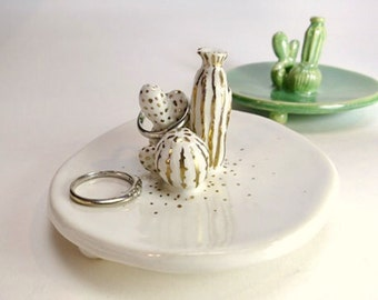 Cactus Ring Dish Cacti Ring Holder Cactus Gift Porcelain Green White Ring Plate Decor Cactus Sculpture Cactus Lover Gift Jewelry Holder