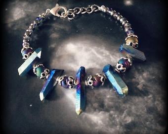 Rainbow Titanium Quartz Crystal Druzy Geode Beads Bracelet
