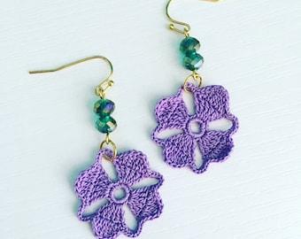 Nora Crochet Earrings in Lavender, Lace Doily Earrings, Lightweight Earrings, Anniversary Gift, Flower Earrings, Purple Crochet Flower